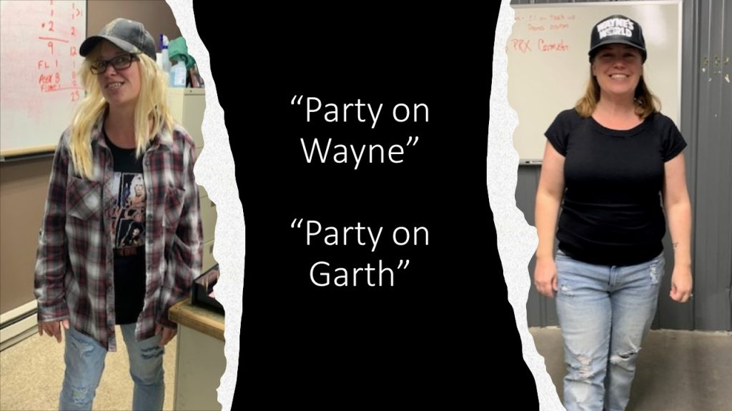 Picture of two IFS employees dressed up in Wayne & Garth costumes for Halloween