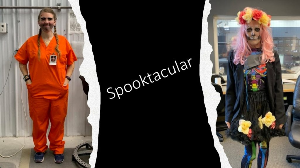 Picture of two IFS employees dressed up in costume for Halloween